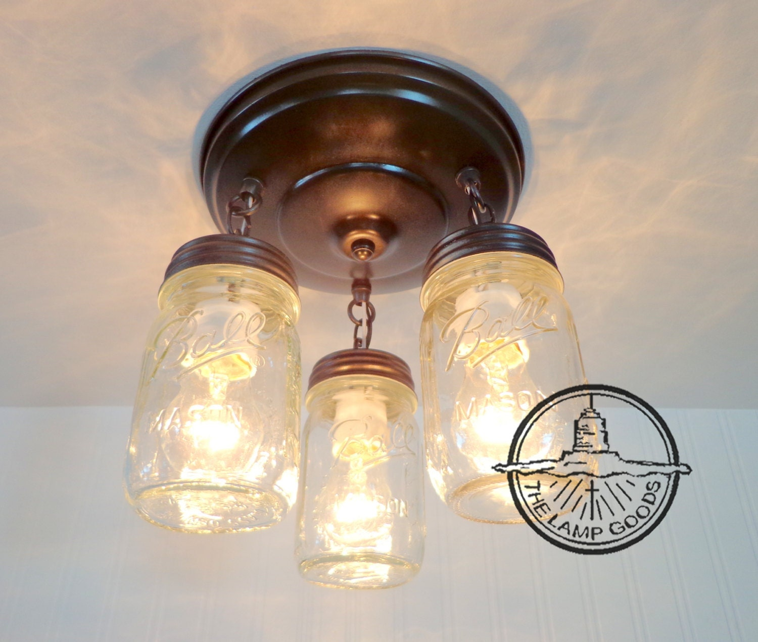 mason jar light fixture new pint trio flush mount farmhouse. Black Bedroom Furniture Sets. Home Design Ideas