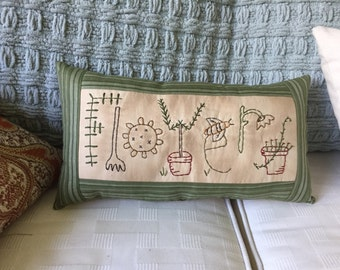 Primitive Shabby Flowers Stitchery Embroidery Pillow Mother's Day
