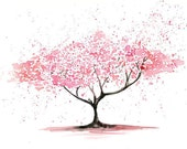 Cherry Tree -Landscape painting-Watercolor-Archival Large Print from my original watercolor painting 14x11 inch