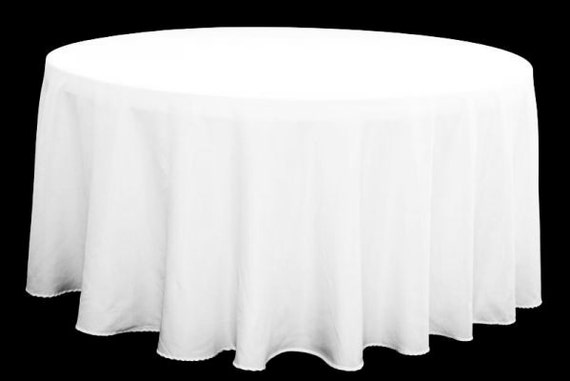 solid white polyester linen tablecloth for round table. Black Bedroom Furniture Sets. Home Design Ideas
