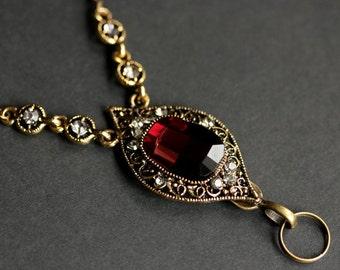 Dark Red Jewel Lanyard. Crystal Lanyard. Badge Necklace. Dark Red Lanyard. Bronze Lanyard. Red Brown Crystal Badge Lanyard. ID Badge Holder.