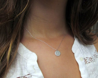Silver Disc Necklace, Hammered Silver Disc Necklace, Simple Silver Necklace, Disc Necklace