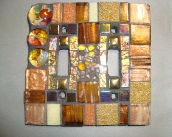 MOSAIC LIGHT SWITCH Plate Cover - Double, Wall Art, Wall Plate, Earth Tones