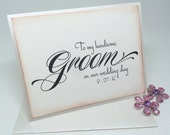 To My Groom Card On Our Wedding Day, Card for Handsome Groom, Card from Wife, Card for Groom, Groom Wedding Card, Vintage Style Wedding