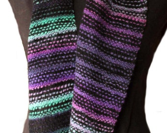 Hand Spun Hand Dyed Hand Woven Scarf, Greens Purples Pinks and black