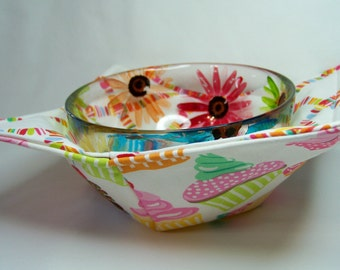 Microwave Bowl Cozy - Icing on Top in White - Bowl Pot Holder - Reversible -  Ready to Ship