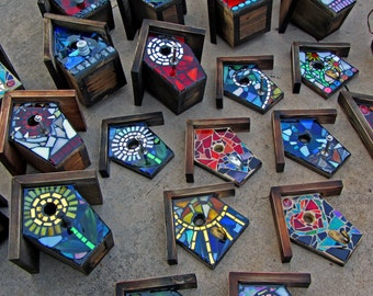 Mixed Media- Stained Glass-MIrror-Ceramic Pieces-Resin- FRONT ONLY -made to order - Choose a Design!