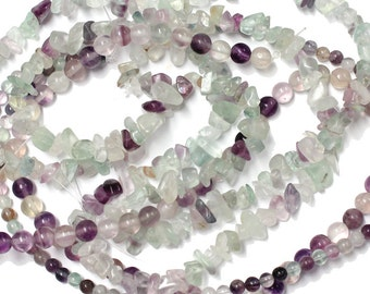 Rainbow Fluorite  - choose from 4mm or 6mm smooth round beads or chip beads - semiprecious gemstone pastel green lavender jewelry beads