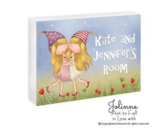 Sisters Room Art Personalized Door Sign For Kids Room Twin Sisters Bedroom Wall Sign Custom Name Door Hanger For Girls Nursery Decor Art