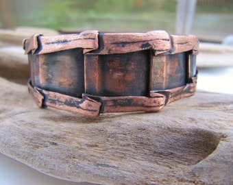 Mens Copper Cuff Bracelet Handmade Copper Jewelry Form Folded