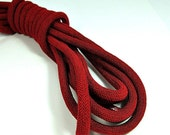 ON SALE Deep red  braided silk cord, 8mm bookbinding rope, thick cord, 1m