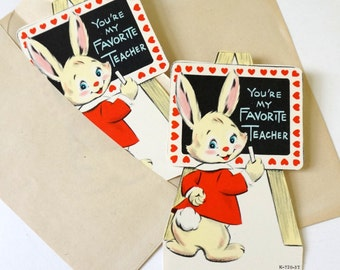Vintage 1960s Valentines Card Set of 2 Unused / Anthropomorphic Bunny Rabbit Chalkboard, You're My Favorite Teacher