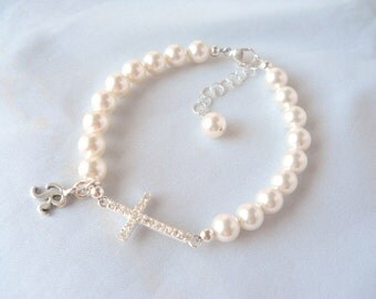 Bracelet More Colors Sideways Cross Swarovski Pearl and Initial First Communion Gift B243