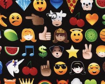 Timeless Treasure Novelty Fabric Pac Man Arcade Game Icons Emojis on Black