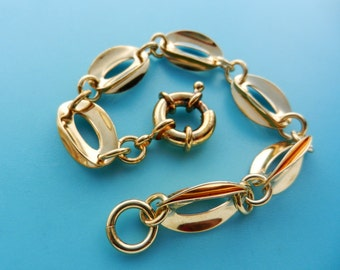 Original  bracelet in gold plated brass elaborate double oval-shaped links- simple chain bracelet but high-impact and quality--art.141/2-