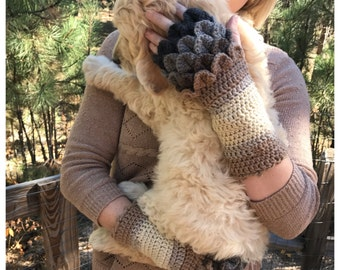 Multi color Dragon Scale Gloves PATTERN - Ombre Dragon Gloves - Fingerless Gloves - Dragon Scales - Crocodile Stitch - Crochet Pattern