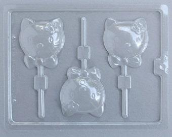 Kitty Kat Lollipop Mold, Hello Kitty Chocolate Mold, Kitty Cat Lollipop Chocolate Mold, Kawaii Cat Chocolate Sucker Mold