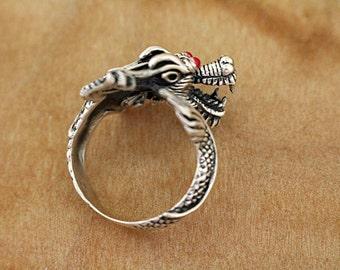 Silver Dragon Ring Ornate