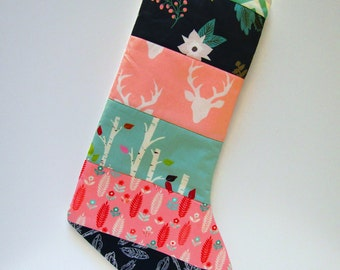Quilted Christmas Stockings-Modern Woodland-Mint-Navy Blue-Pink-Buck-Antlers-Trees-Feathers-Chevron