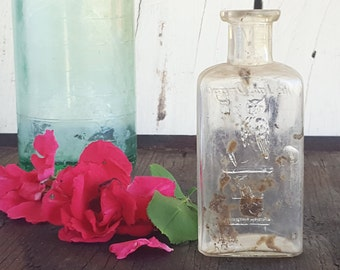 Antique Glass Bottle, Owl Drug Co Bottle, Drugstore, One Wing, Small Square Clear Glass, Late Victorian, BIMAL, Unique Vase, Home Decor