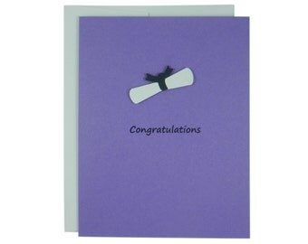 Purple Diploma Graduation Card New Graduate Congratulations Grad Card for Graduation Gift College Grad Handmade Greeting Custom Graduation