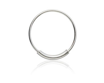 Silver Ring with double silver layers at it's center, Tragus earring, Cartilage earring, Septum Ring, Belly piercing, Ear piercings, Tribu
