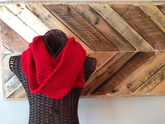 Red infinity scarf, chunky infinity scarf, fall, winter, spring, circle scarf, loop scarf, fashion, valentines day