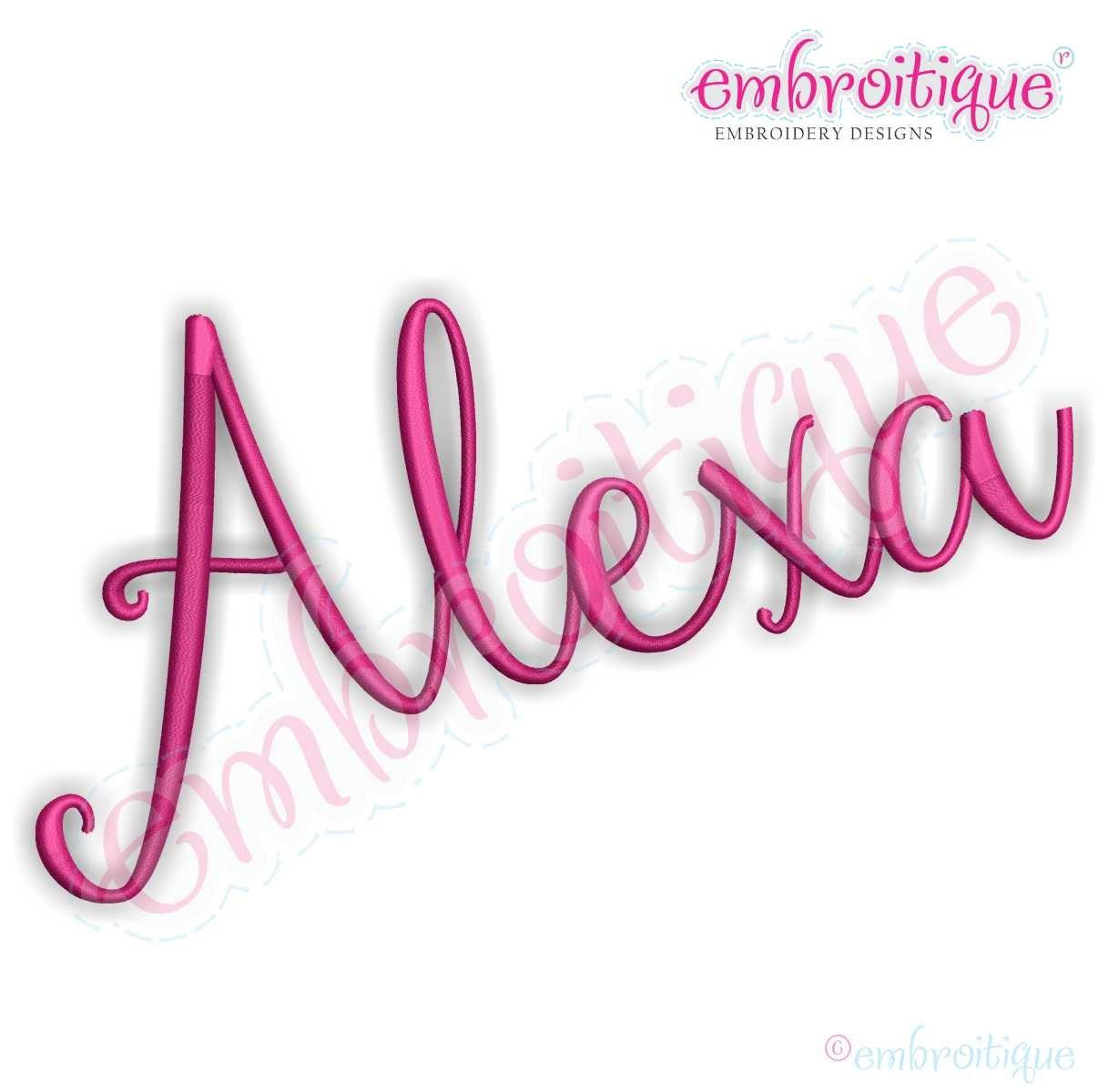 Alexa hand letterered calligraphy machine embroidery monogram