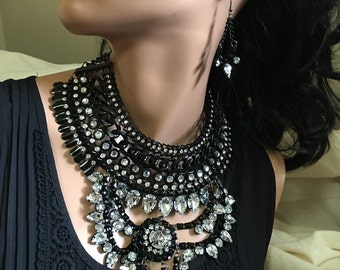 SALE SALE SALE  25 percent off of 76.98 Now 57.00 Black and Crystal Necklace Earring Set