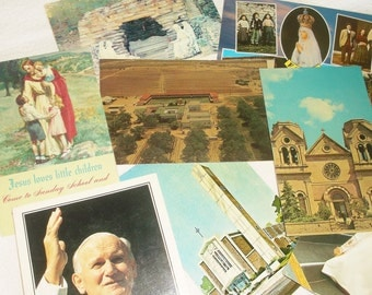 8 Vintage Religious Postcards • Holy Cross Retreat House, St Francis Cathedral, Our Lady Of Lourdes, Fatima, etc