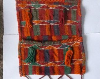 Vintage Bohemian Woven Wool Tassel Pocket Wall Hanging