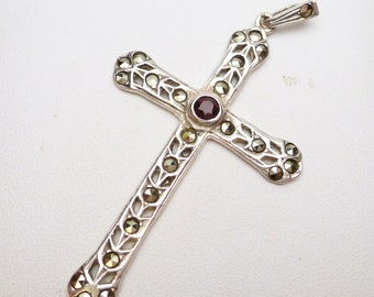 Garnet and Marcasite Cut Out Cross Sterling Silver 1940s