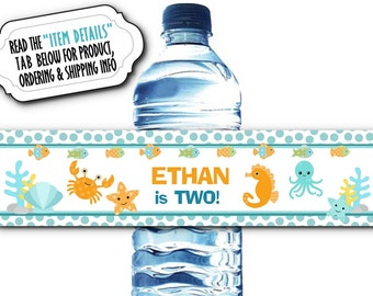 10 Waterproof Peel & Stick Water Bottle Labels, Birthday Party, Baby Shower, Under the Ocean, Sea Creatures, Little Fish