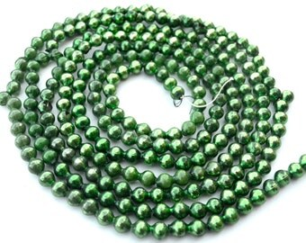 "Vintage Christmas Mercury Glass Garland Green 89"" Total Length"