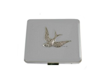 Flying Swallow 8 day Pill Box Hand Inlaid in Hand Pianted  Enamel in Grey Opaque Victorian Bird with Personalized and Color Options
