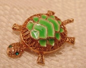 Vintage Enameled Turtle Brooch-Vintage Jewelry-Vintage Brooch-Turtle Jewelry-Turtle Brooch-Costume Jewelry-Roadsidebridge