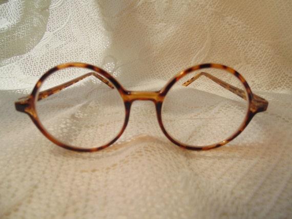 Vintage Tortoise Shell Eyeglass Frames : Vintage Round Tortoise Shell Eyeglasses Vintage Eyewear Round