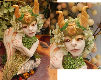 Green Horned Sea Nymph Mermaid in Shell OOAK Fairy Art Doll Fairies NEW Polymer Clay