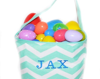 Chevron Easter Basket, Chevron Bag, Easter Basket, Chevron Easter Basket, Personalized Easter Basket, Embroidered Easter Basket