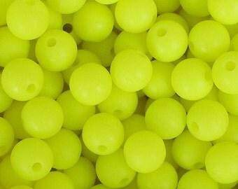 "10mm (3/8"") Round Neon Acrylic Beads (10 pcs). 2.59mm hole. 0112"