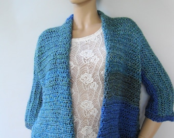 Crochet Cardigan, Crochet Jacket, Crochet Coats, Boucle Jacket, Lakeside Stripes, Chunky Cardigan, Available in S/M, L/Xl, and 1X/2X
