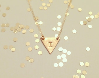 Custom Initial Small Triangle Necklace - Dainty Little Triangle Shape Charm Suspended on Gold Filled Chain - Wedding Jewelry