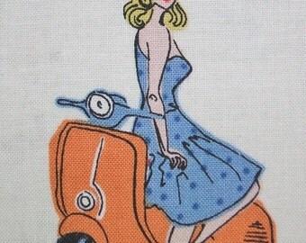 Vacation Retro Scooter Women Travel Andover Fabric Yard