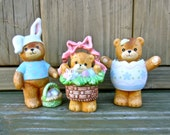 Lucy & Me Easter Bears Trio of Figurines by Enesco 1980-1990