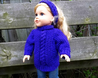 18 inch Doll Clothes Fit American Girl Doll Iris Purple Set Knit Cable Pullover and Headband Toys