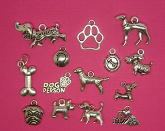 The Dog Collection - 14 different antique silver tone charms