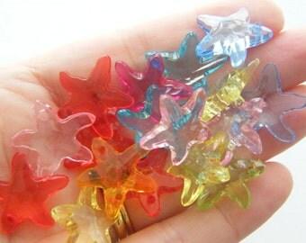 50 Starfish charms acrylic assorted