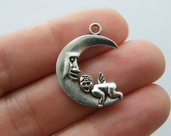 8 Angel moon charms antique silver tone AW178