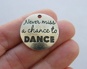 2 Never miss a chance to dance charms antique silver tone M730