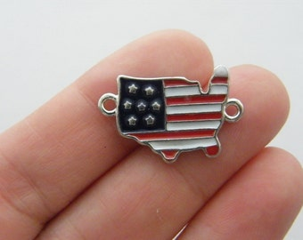 BULK 10 United States flag map connector charms silver tone WT89